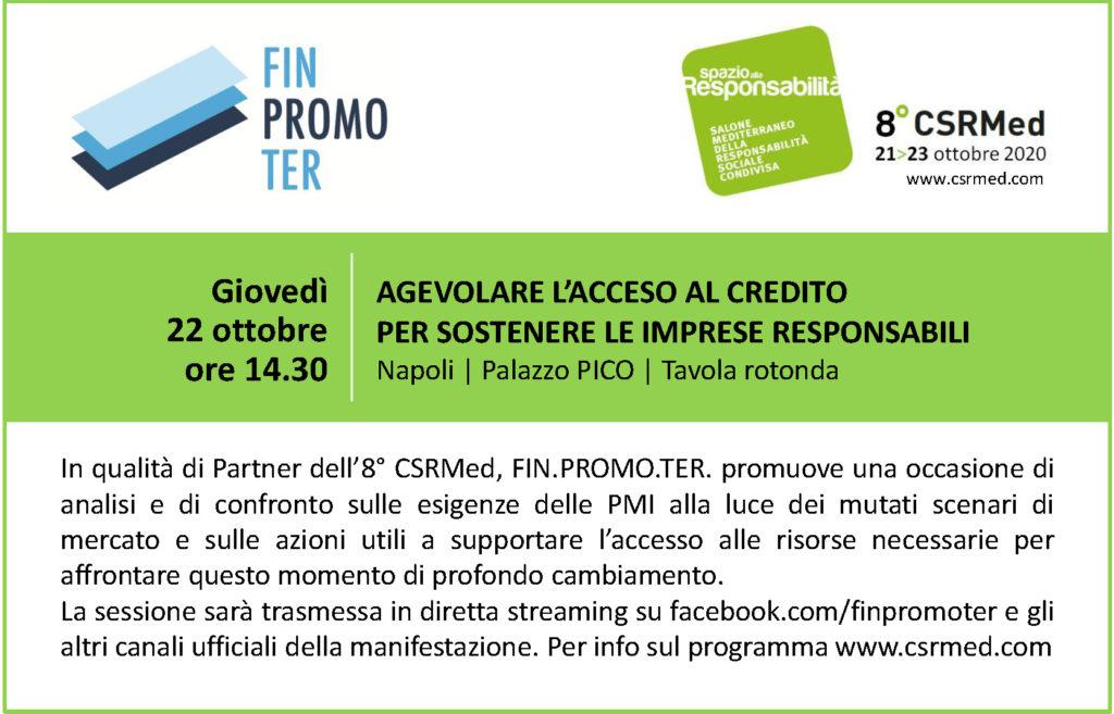 Finpromoter partner dell'8 CSRMed: agevolare l'accesso al credito per sostenere le imprese responsabili logo